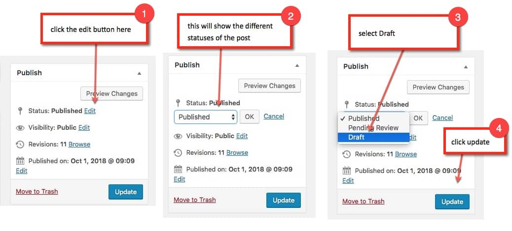 How to: save a WordPress post as a Draft
